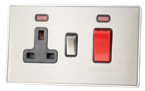 G&H LSS329 Screwless Brushed Steel 45 Amp DP Cooker Switch & 13A Switched Socket